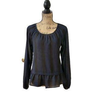 Merona striped ruffled peplum blouse